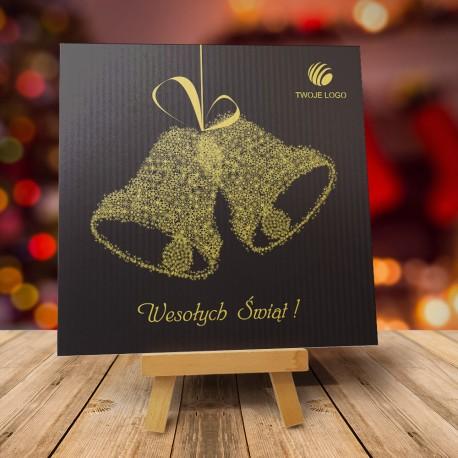 Czarna kartka świąteczna DZWONECZKI ZŁOTE z logiem