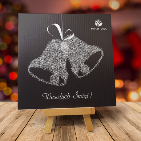 Czarna kartka świąteczna DZWONECZKI SREBRNE z logiem