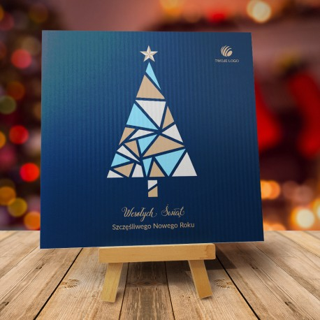 Kartka Bożonarodzeniowa WITRAŻOWA CHOINKA CIEMNA z logiem