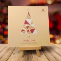 Kartka Bożonarodzeniowa WITRAŻOWA CHOINKA ZŁOTA z logiem