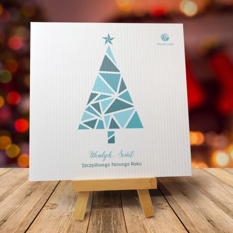 Kartka Bożonarodzeniowa WITRAŻOWA CHOINKA SREBRNA z logiem