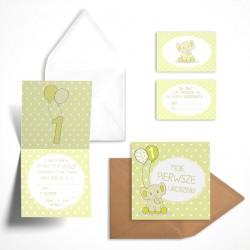 Pastelowe zaproszenia na roczek Cytrynowy Słonik bez personalizacji