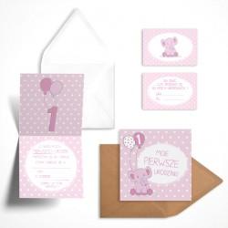 Pastelowe zaproszenia na roczek Malinowy Słonik dla dziewczynki bez personalizacji