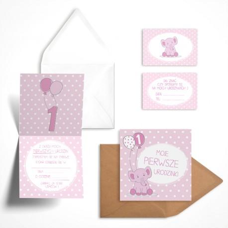Pastelowe Zaproszenia Na Roczek Malinowy Słonik Dla Dziewczynki Bez