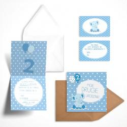 Pastelowe zaproszenia na drugie urodzinki Borówkowy Słonik dla chłopca bez personalizacji