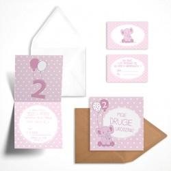 Pastelowe zaproszenie na drugie urodziny Malinowy Słonik dla dziewczynki bez personalizacji