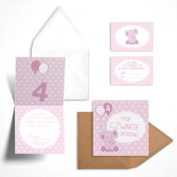 Pastelowe zaproszenia na czwarte urodziny Malinowy Słonik dla dziewczynki bez personalizacji
