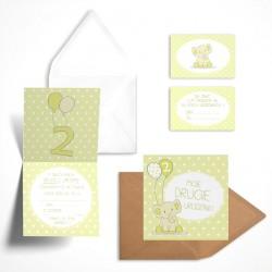 Pastelowe zaproszenia na drugie urodziny Cytrynowy Słonik bez personalizacji