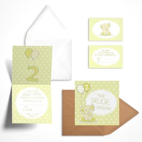 Pastelowe zaproszenie na drugie urodziny Cytrynowy Słonik bez personalizacji