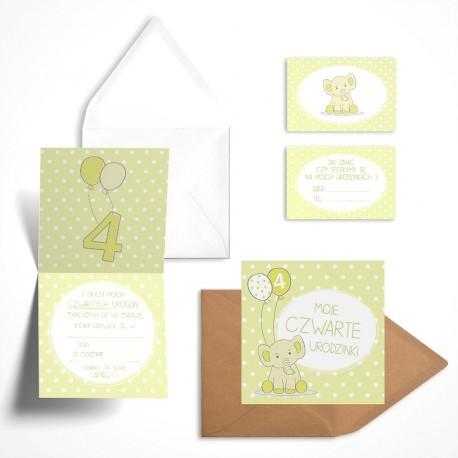Pastelowe zaproszenia na czwarte urodziny Cytrynowy Słonik bez personalizacji