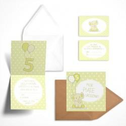 Pastelowe zaproszenia na piąte urodziny Cytrynowy Słonik bez personalizacji