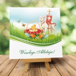 """Kartki wielkanocne religijne """"Wielkanocny Baranek z Kurczaczkiem"""" z kopertami dedykowanymi"""