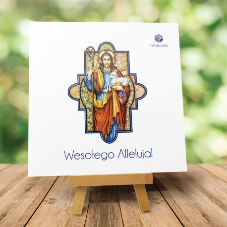 """Religijna Kartka Wielkanocna z logo """"Witrażowa z barankiem"""""""
