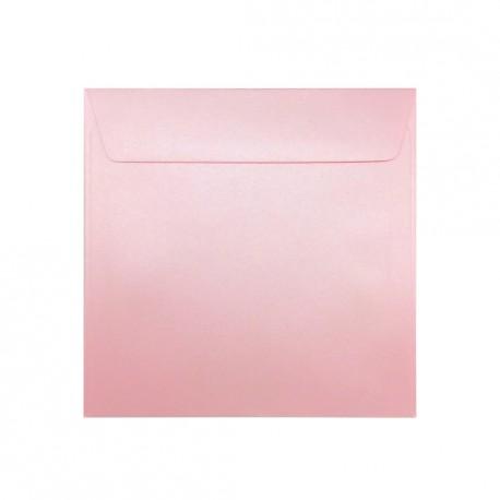 Koperta ozdobna 155x155 różowa pudrowa perłowa
