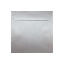 Koperta ozdobna 155x155 srebrna perłowa