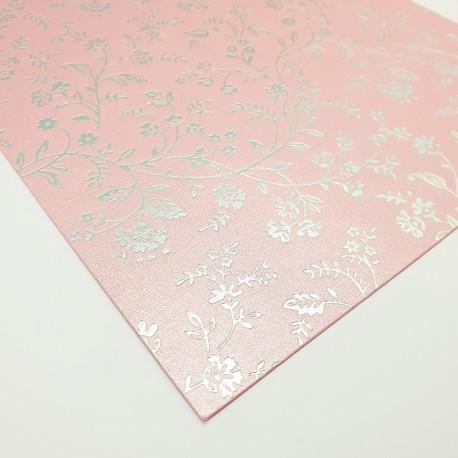 """Bajeczny papier ozdobny """"Srebrne kwiatki na pudrowym różu"""""""