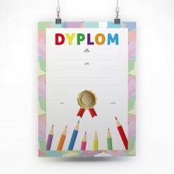 Dyplomy dla dzieci Kolorowe kredki A4