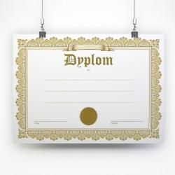 Ekskluzywny dyplom A4 ze złotą ramką