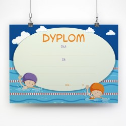 Dyplomy dla dzieci Zawody pływackie / A4 poziomy