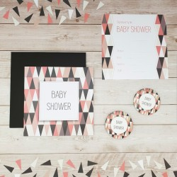 Zaproszenie na Baby Shower Trójkąty i kwadraty