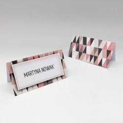 Personalizowane winietki na stół z serii Trójkąty i kwadraty