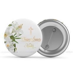 Buttony na Chrzciny jako niespodzianka dla gości Złote Lilie