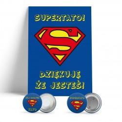 SUPER TATA zestaw prezentowy dyplom, magnes i przypinka dla taty