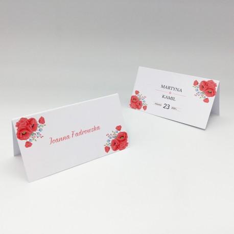 Wizytówki na stół Czerwone maki