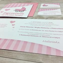 Śliczne zaproszenia na chrzciny Różowy Wózek dla dziewczynki