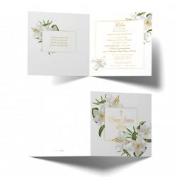 Zaproszenia na chrzest personalizowane Białe Lilie