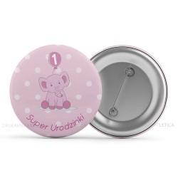 Przypinki na pierwsze urodziny Malinowy Słonik dla dziewczynki