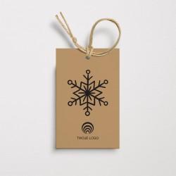 Zawieszki na prezenty firmowe CZARNA ŚNIEŻYNKA z logo