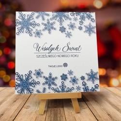 Kartki świąteczne biznesowe TANIEC ŚNIEŻYNEK z logo