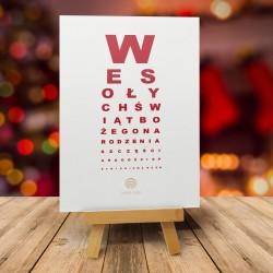 Kartki świąteczne bożonarodzeniowe test wzroku TABLICA SNELLENA