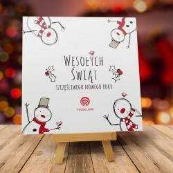 Kartki na Boże Narodzenie WESOŁE BAŁWANKI z logo