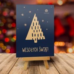 Firmowa kartka świąteczna z logo ŚWIĄTECZNE DRZEWKO