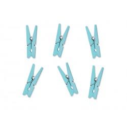 Małe klamerki ozdobne drewniane błękitne