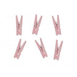 Spinacze ozdobne małe klamerki drewniane różowe