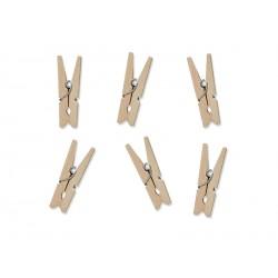 Małe drewniane klamerki ozdobne jasne drewno