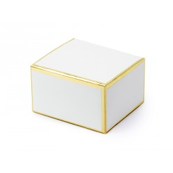 Pudełeczka na podziękowania dla gości Biały Prostokąt ze złotem