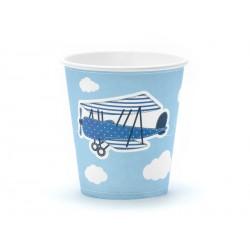 Kubeczki papierowe niebieskie w chmurki Mały Pilot