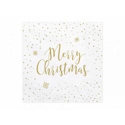 """Serwetki świąteczne biało-złote z napisem """"Merry Christmas"""""""