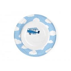 Talerzyki jednorazowe papierowe niebieskie kolekcja Mały Pilot