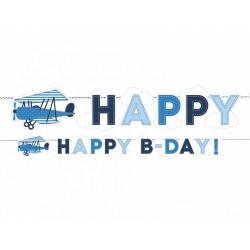 Baner urodzinowy Happy B-Day z samolotem kolekcja Mały Pilot