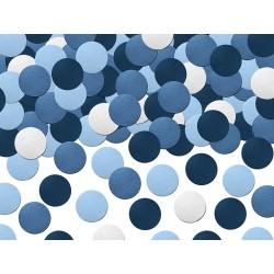 Konfetti okrągłe białe, niebieskie, granatowe i błękitne kolekcja Mały Pilot