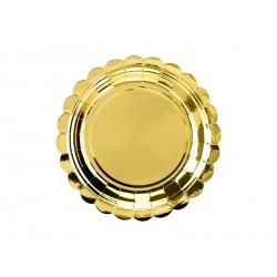 Talerzyki jednorazowe złote błyszczące z falbanką