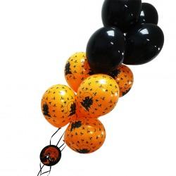 Balonowy bukiet Straszne Zamczysko czarno-pomarańczowy