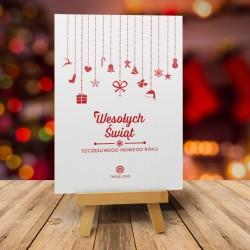 Kartka świąteczna bożonarodzeniowa z logo ŚWIĄTECZNE OZDOBY