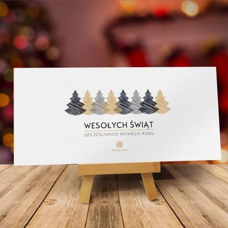 Kartki na święta Bożego Narodzenia CHOINKI ŚWIĄTECZNE