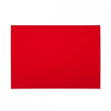 Koperta ozdobna C6 czerwona matowa zamykana w szpic